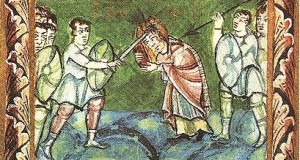 St Boniface happily being killed by pagans